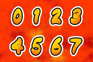 Bright colorful comics numbers