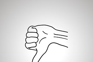 Cartoon hand in dislike gesture