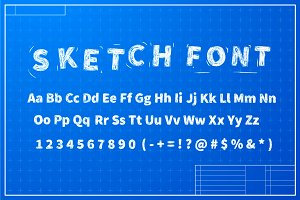 White sketch font on blueprint