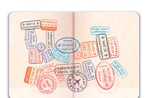 Foreign passport with stamps