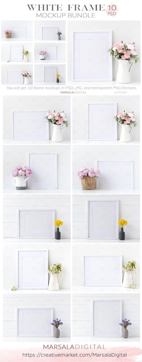 Download White Frame Mockup Bundle Set of 10