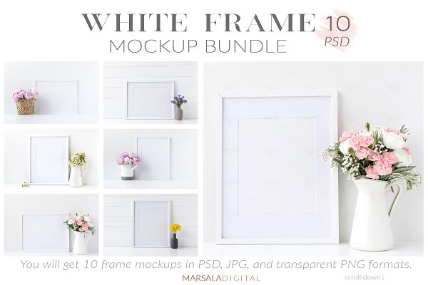 White Frame Mockup Bundle Set of 10