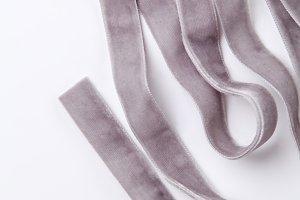 Velvet ribbon on white background