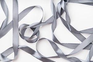 Silk ribbon on white background