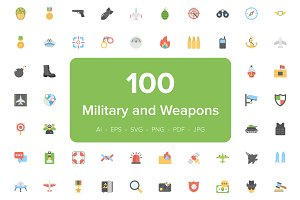 100 Military and Weapons Flat Icons