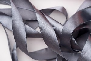 Silk ribbons curled in spirals