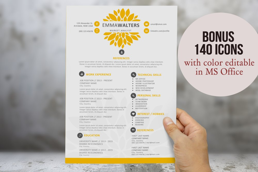 creative flower resume template resume templates creative market - Ms Resume Templates