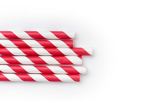 Red and white party drinking straws