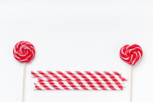 Red and white party accessories