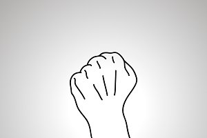 Cartoon hand in fist gesture