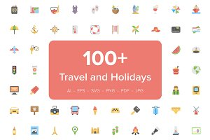 110 Travel And Holidays Flat Icons