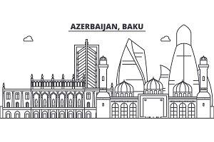 Azerbaijan, Baku line skyline vector illustration. Azerbaijan, Baku linear cityscape with famous landmarks, city sights, vector landscape.
