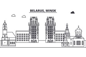 Belarus, Minsk line skyline vector illustration. Belarus, Minsk linear cityscape with famous landmarks, city sights, vector landscape.