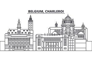 Belgium, Charleroi line skyline vector illustration. Belgium, Charleroi linear cityscape with famous landmarks, city sights, vector landscape.