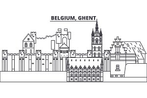 Belgium, Ghent line skyline vector illustration. Belgium, Ghent linear cityscape with famous landmarks, city sights, vector landscape.