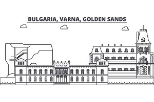 Bulgaria, Varna, Golden Sands line skyline vector illustration. Bulgaria, Varna, Golden Sands linear cityscape with famous landmarks, city sights, vector landscape.