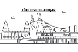 C te D ivoire, Abidjan line skyline vector illustration. C te D ivoire, Abidjan linear cityscape with famous landmarks, city sights, vector design landscape.