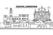 Croatia, Dubrovnik line skyline vector illustration. Croatia, Dubrovnik linear cityscape with famous landmarks, city sights, vector landscape.