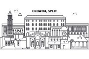 Croatia, Split line skyline vector illustration. Croatia, Split linear cityscape with famous landmarks, city sights, vector landscape.