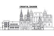Croatia, Zagreb line skyline vector illustration. Croatia, Zagreb linear cityscape with famous landmarks, city sights, vector landscape.
