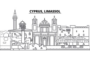 Cyprus, Limassol line skyline vector illustration. Cyprus, Limassol linear cityscape with famous landmarks, city sights, vector landscape.