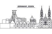 Germany, Lessen line skyline vector illustration. Germany, Lessen linear cityscape with famous landmarks, city sights, vector landscape.