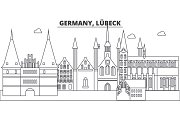 Germany, Lubeck line skyline vector illustration. Germany, Lubeck linear cityscape with famous landmarks, city sights, vector landscape.