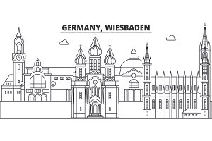 Germany, Wiesbaden line skyline vector illustration. Germany, Wiesbaden linear cityscape with famous landmarks, city sights, vector landscape.