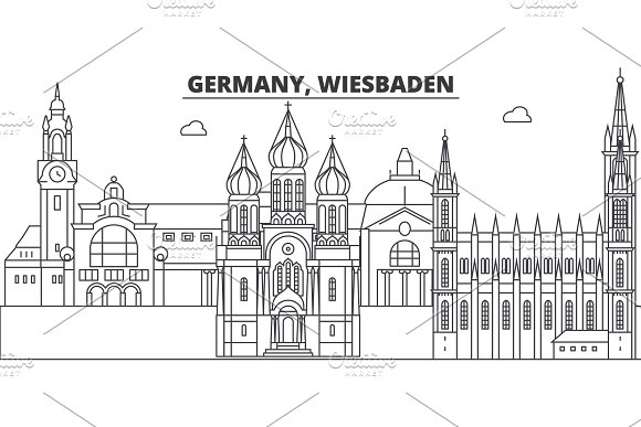 Germany, Wiesbaden line skyline vector illustration. Germany, Wiesbaden linear cityscape with famous landmarks, city sights, vector landscape.