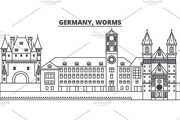 Germany, Worms line skyline vector illustration. Germany, Worms linear cityscape with famous landmarks, city sights, vector landscape.