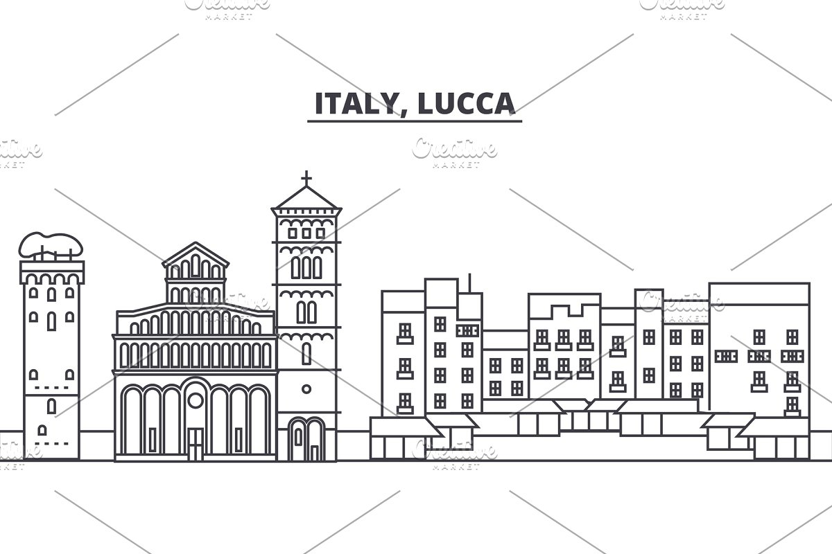 Italy, Lucca line skyline vector illustration. Italy, Lucca linear cityscape with famous landmarks, city sights, vector landscape.  in Illustrations - product preview 8