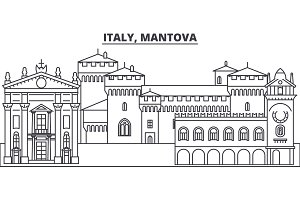 Italy, Mantova line skyline vector illustration. Italy, Mantova linear cityscape with famous landmarks, city sights, vector landscape.