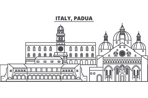 Italy, Padua line skyline vector illustration. Italy, Padua linear cityscape with famous landmarks, city sights, vector landscape.