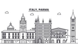 Italy, Parma line skyline vector illustration. Italy, Parma linear cityscape with famous landmarks, city sights, vector landscape.