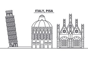 Italy, Pisa line skyline vector illustration. Italy, Pisa linear cityscape with famous landmarks, city sights, vector landscape.
