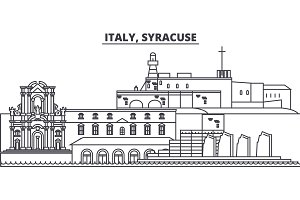 Italy, Syracuse line skyline vector illustration. Italy, Syracuse linear cityscape with famous landmarks, city sights, vector landscape.