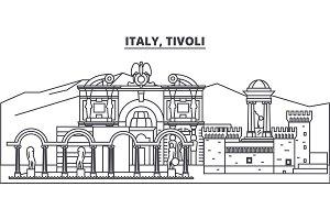 Italy, Tivoli line skyline vector illustration. Italy, Tivoli linear cityscape with famous landmarks, city sights, vector landscape.