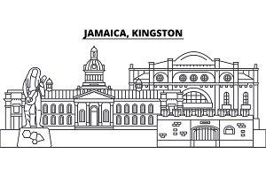 Jamaica, Kingston line skyline vector illustration. Jamaica, Kingston linear cityscape with famous landmarks, city sights, vector landscape.