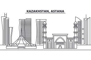 Kazakhstan, Astana line skyline vector illustration. Kazakhstan, Astana linear cityscape with famous landmarks, city sights, vector landscape.