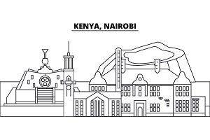 Kenya, Nairobi line skyline vector illustration. Kenya, Nairobi linear cityscape with famous landmarks, city sights, vector landscape.