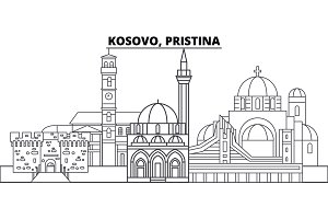 Kosovo, Pristina line skyline vector illustration. Kosovo, Pristina linear cityscape with famous landmarks, city sights, vector landscape.