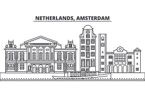 Netherlands, Amsterdam line skyline vector illustration. Netherlands, Amsterdam linear cityscape with famous landmarks, city sights, vector landscape.