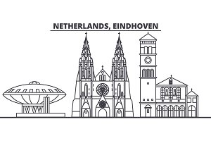 Netherlands, Eindhoven line skyline vector illustration. Netherlands, Eindhoven linear cityscape with famous landmarks, city sights, vector landscape.
