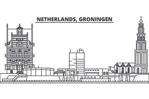 Netherlands, Groningen line skyline vector illustration. Netherlands, Groningen linear cityscape with famous landmarks, city sights, vector landscape.
