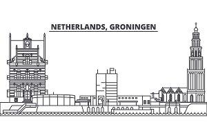 Netherlands, Groningen line skyline vector illustration. Netherlands, Groningen linear cityscape with famous landmarks, city sights, vector landscape.