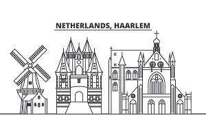 Netherlands, Haarlem line skyline vector illustration. Netherlands, Haarlem linear cityscape with famous landmarks, city sights, vector landscape.