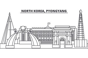 North Korea, Pyongyang line skyline vector illustration. North Korea, Pyongyang linear cityscape with famous landmarks, city sights, vector landscape.