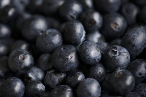 Closeup of fresh organic blueberries