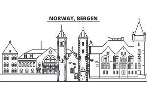 Norway, Bergen line skyline vector illustration. Norway, Bergen linear cityscape with famous landmarks, city sights, vector landscape.