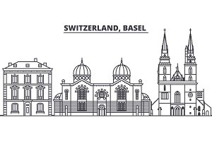 Switzerland, Basel  line skyline vector illustration. Switzerland, Basel  linear cityscape with famous landmarks, city sights, vector landscape.